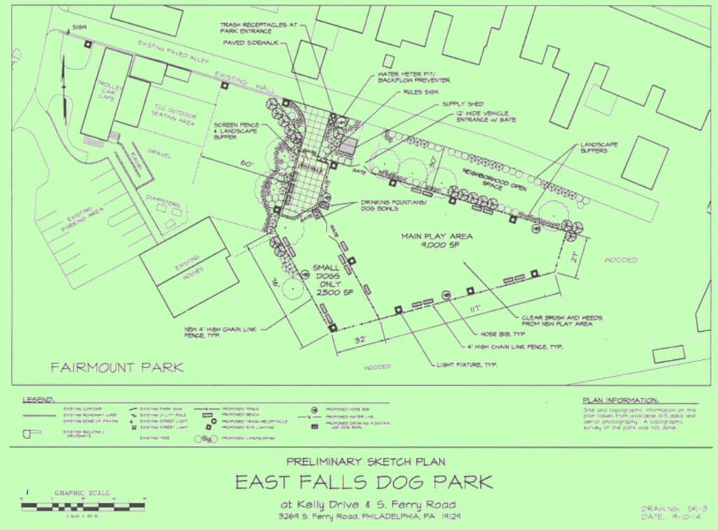 proposed dog park plans PM Green