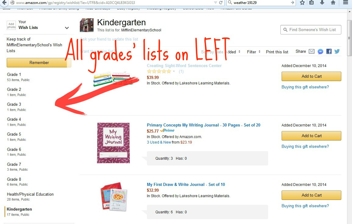 Amazon defaults to Kindergarten but on left are grades