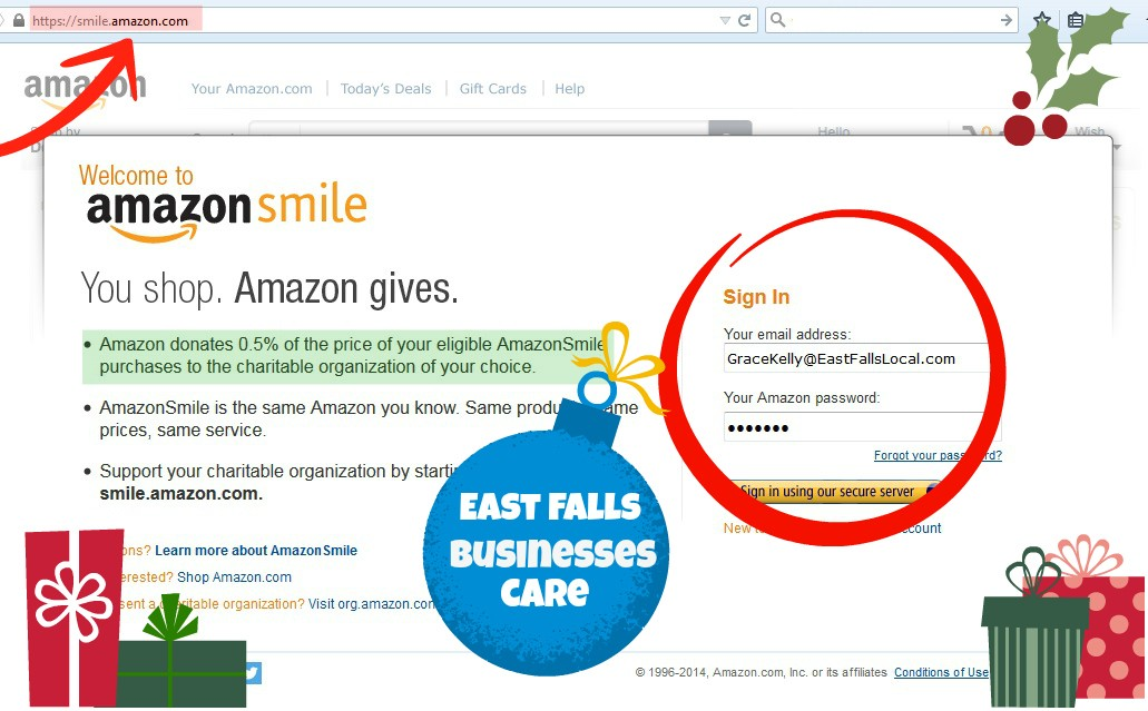 Amazon smile home page screen shot