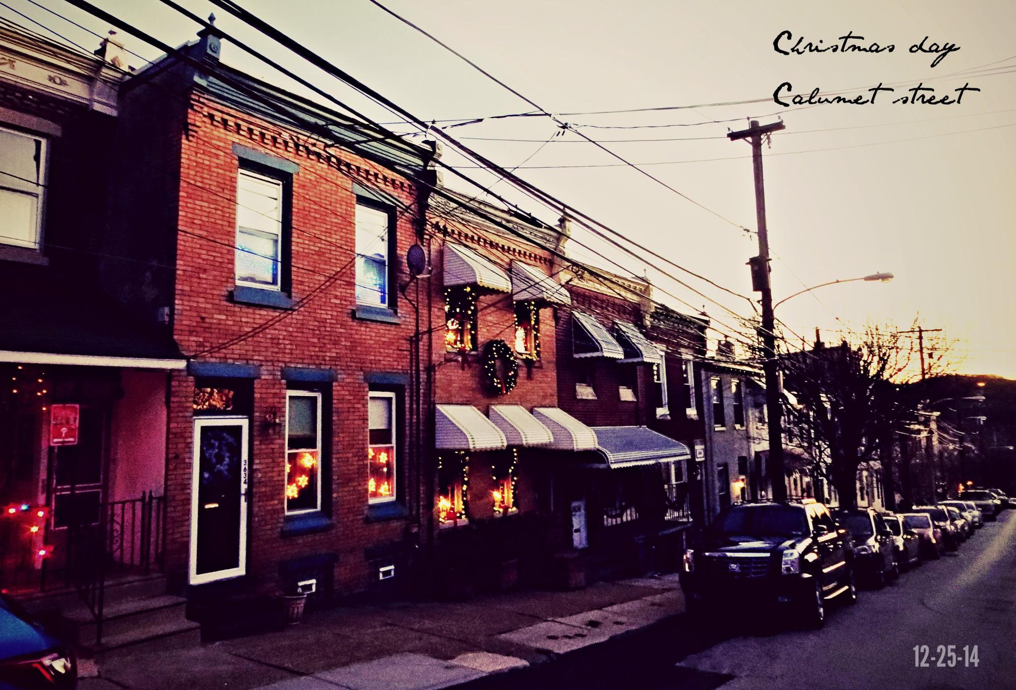 East Falls Local 12-25 Calumet street lights sunset text