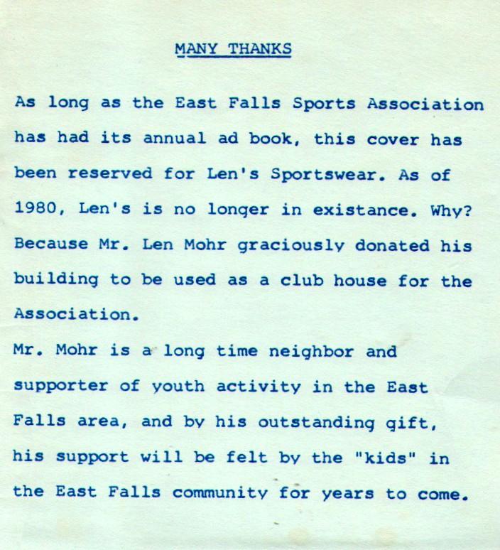 East Falls Local.EFSA booklet.Lens Sportswear