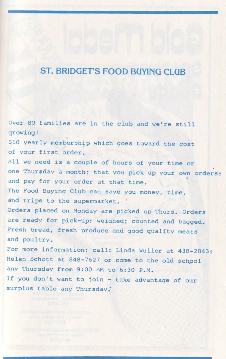 St Bridgets food buying club