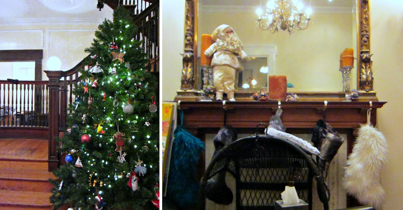 stockings tree collage