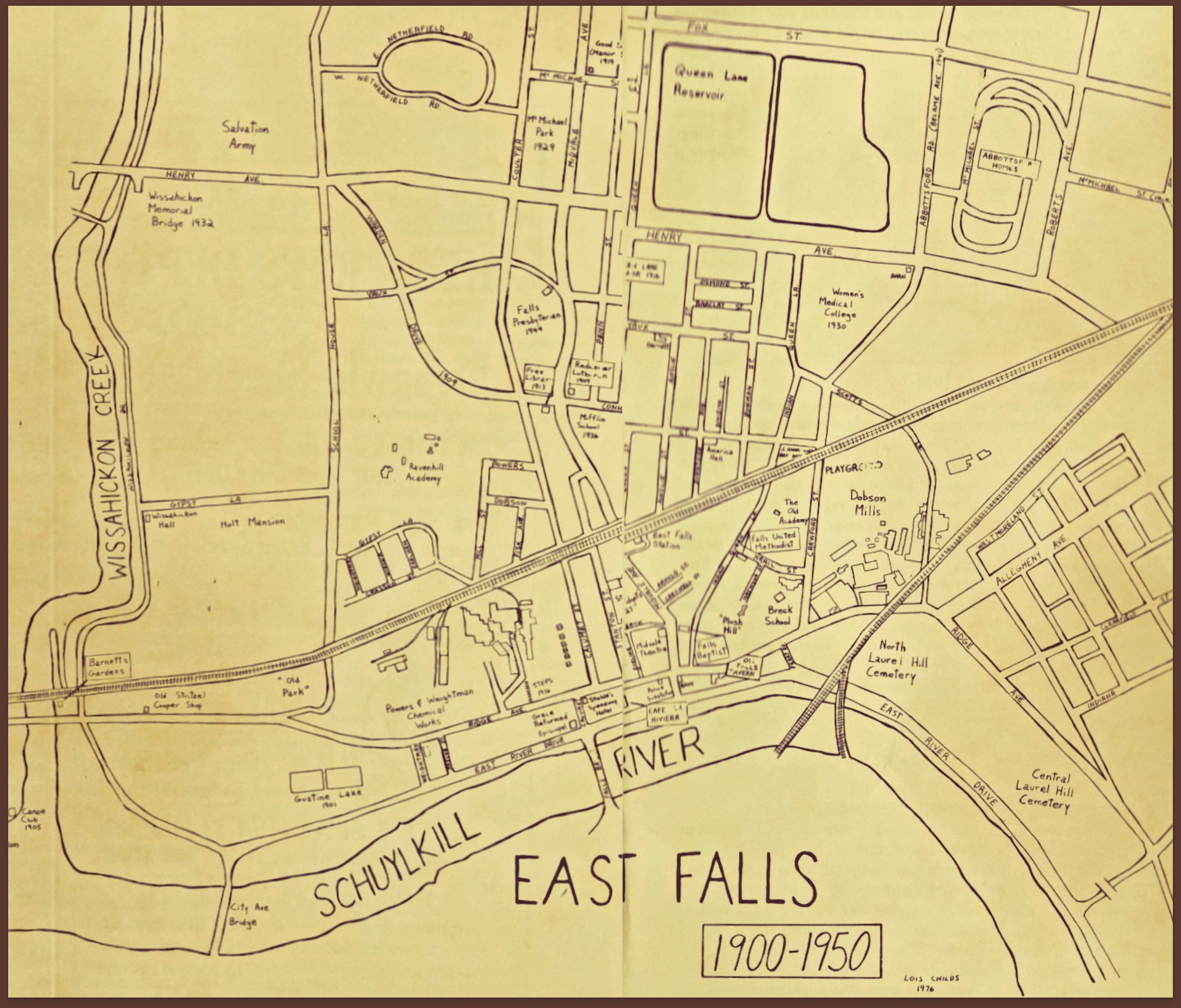 East Falls Local 300 years map 1900 to 1950