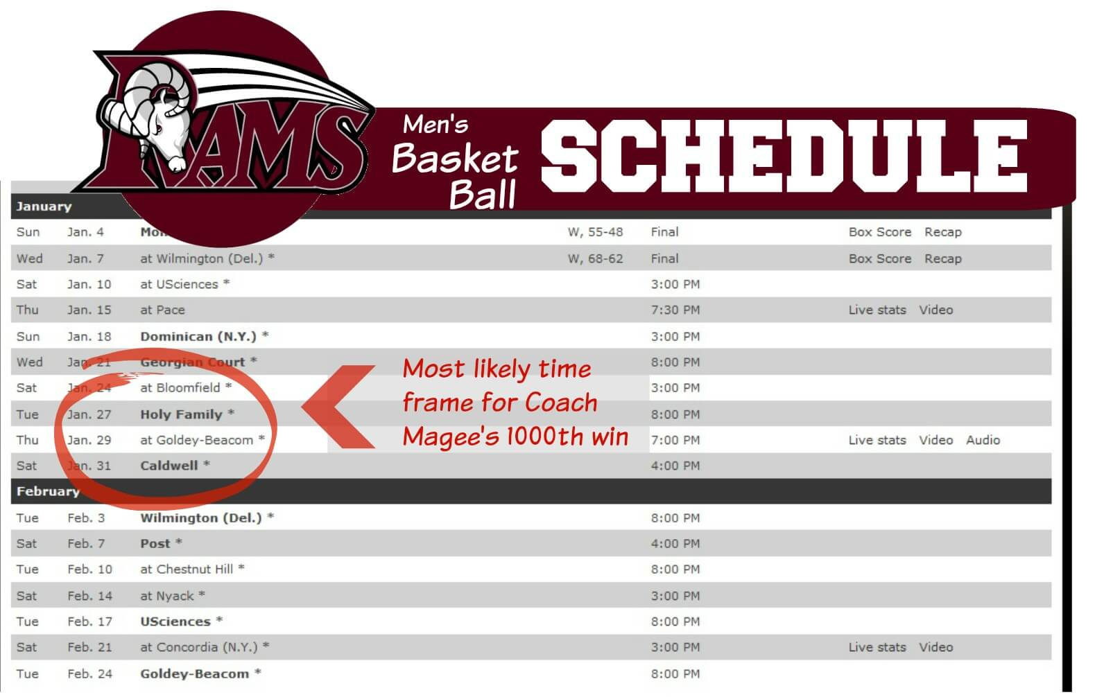 EastFallsLocal men's basket ball schedule