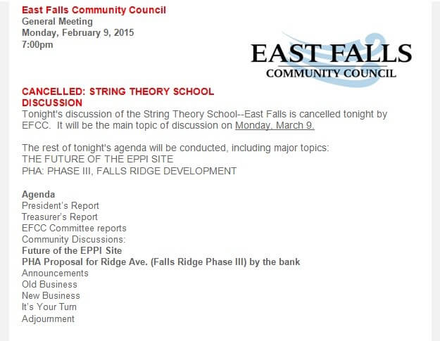 2-9 New EFCC agenda without Sting Theory East Falls Local
