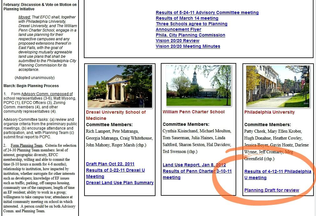 East Falls Local EFCCs current page on zoning info 2-19-15