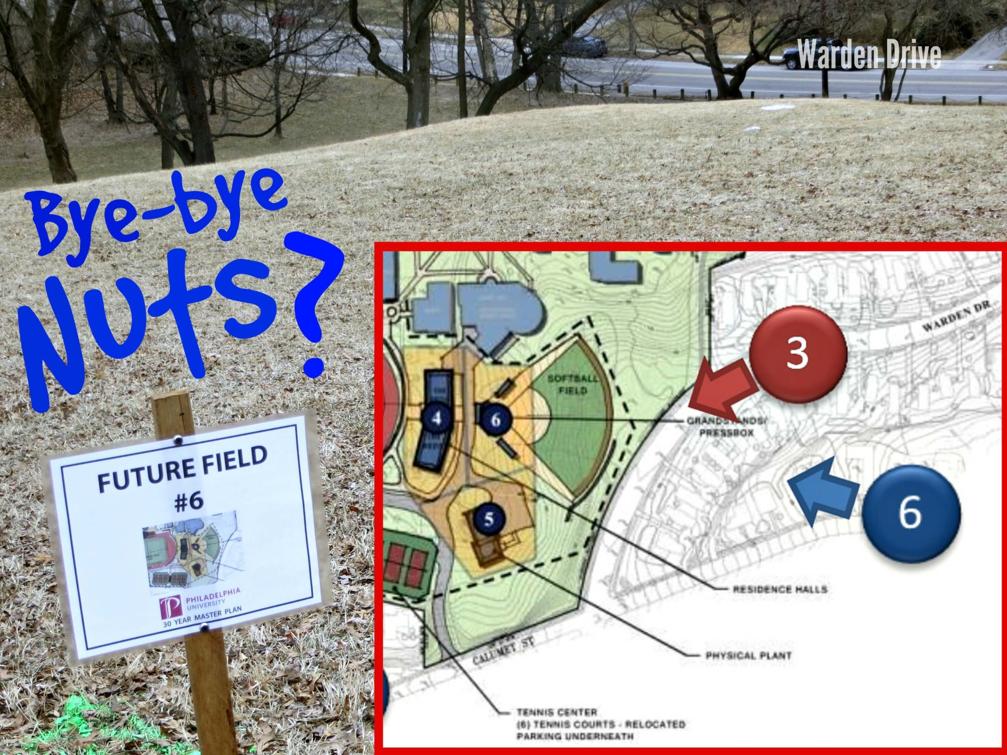East Falls Local Future site #6 The Nuts with Sign Insert Bye Bye Nuts txt