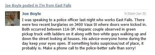 East Falls Local Joe Boyle FB post