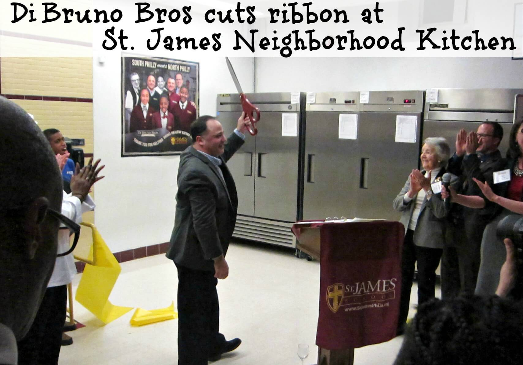 East Falls Local St James Neighborhood Kitchen 2-11 Bill Magnucci cousin of DiBruno cuts ribbon
