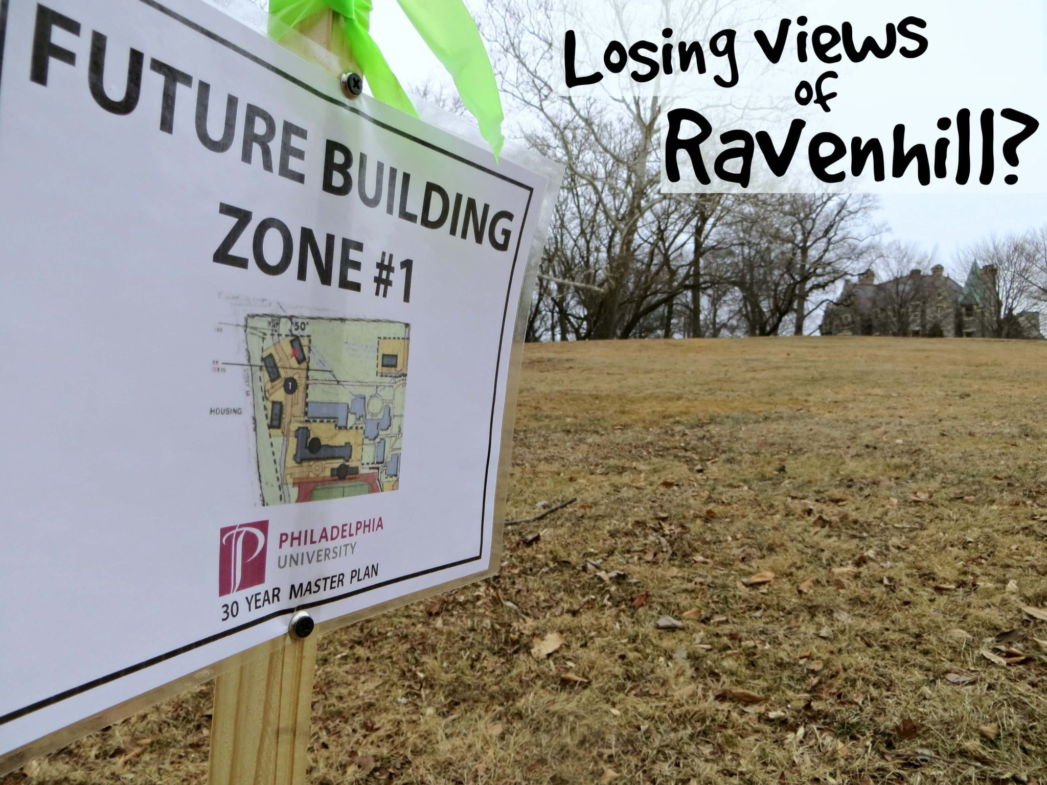 Future site #1 New homes SIGN 50 feet setback corner survey SIGN RAVENHILL losing views text