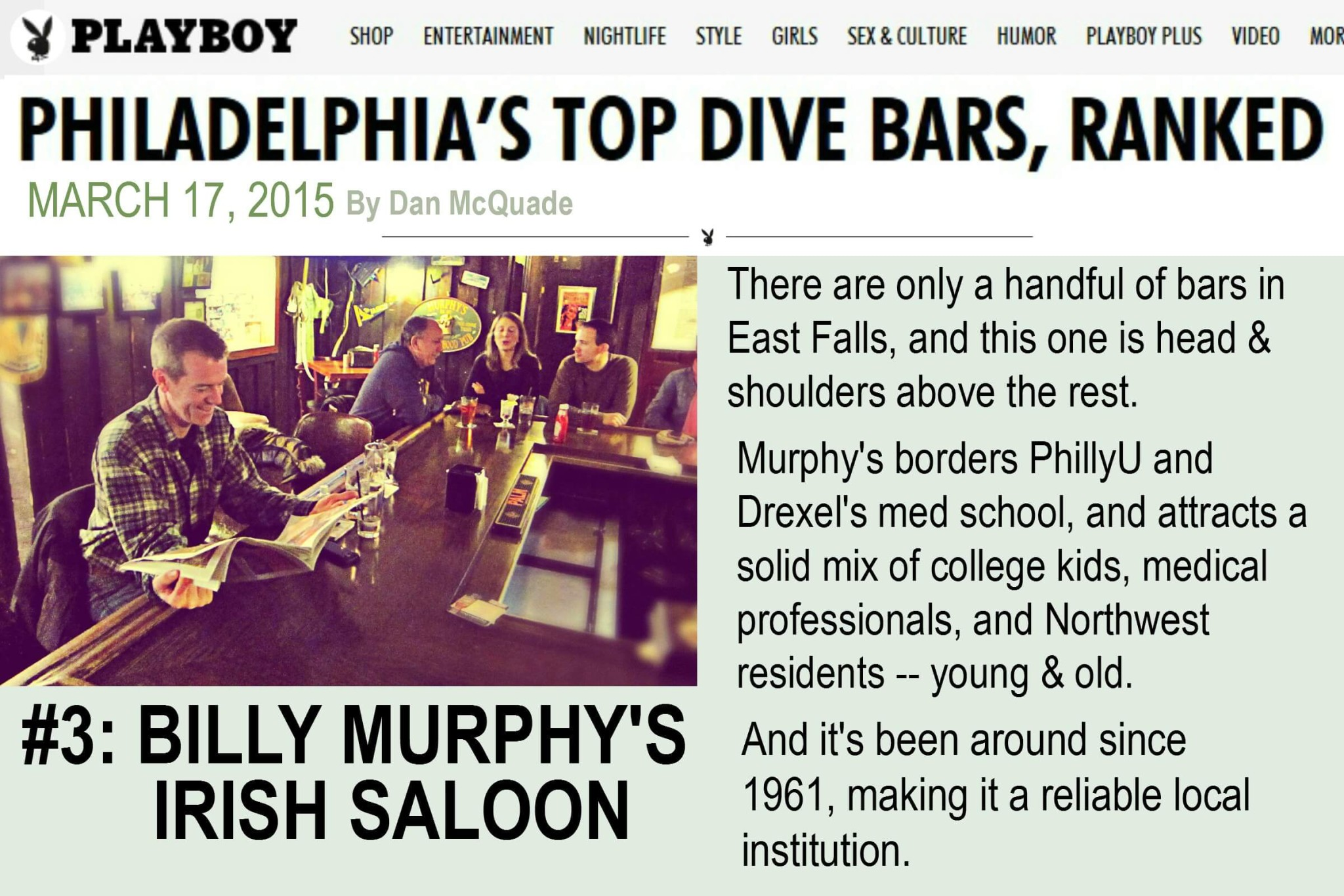 EastFallsLocal BillyMurphy playboy top ten dive bars philly OMG SAVE THIS