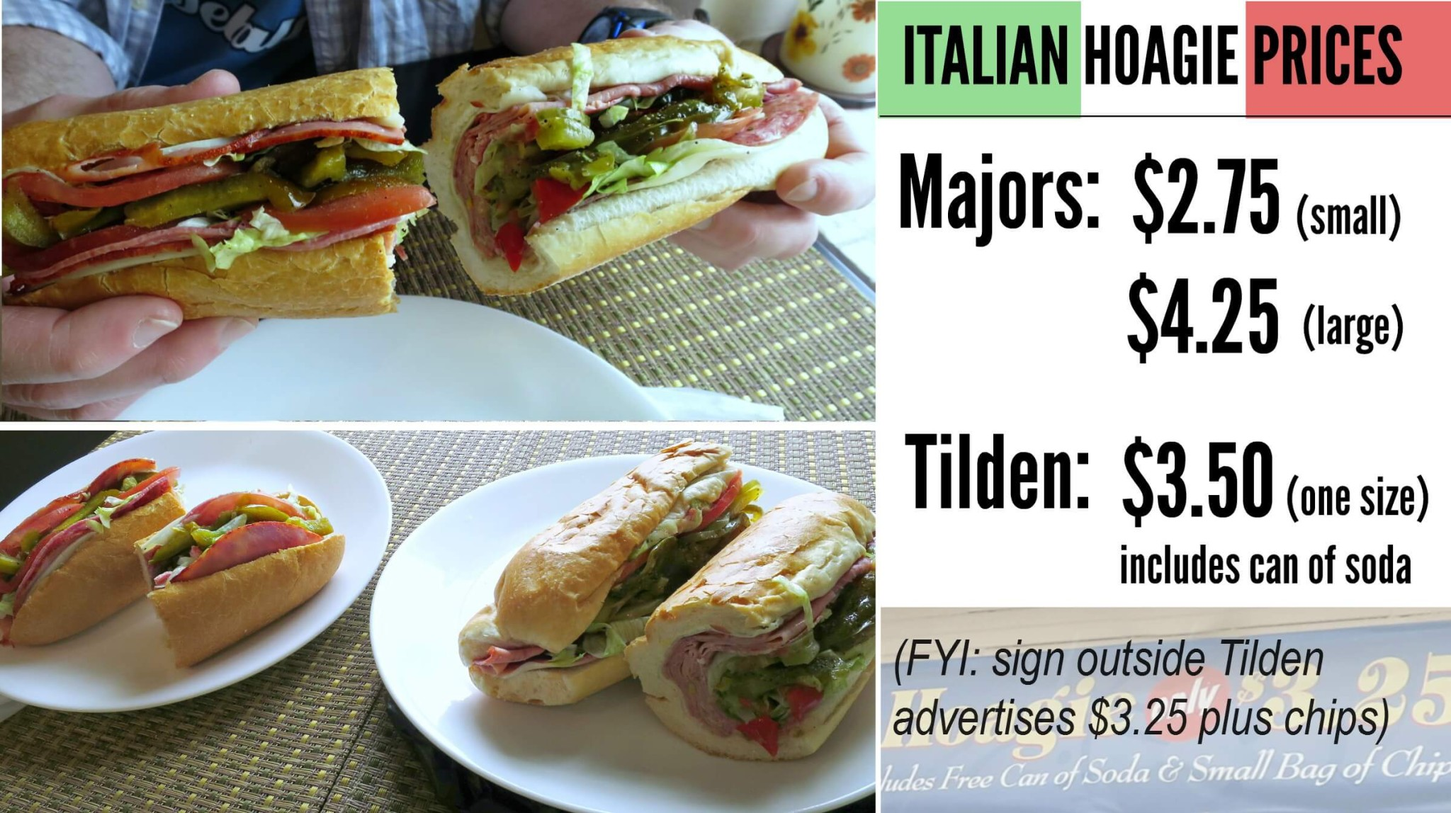 EastFallsLocal COLLAGE TIlden v Majors italian hoagie prices text