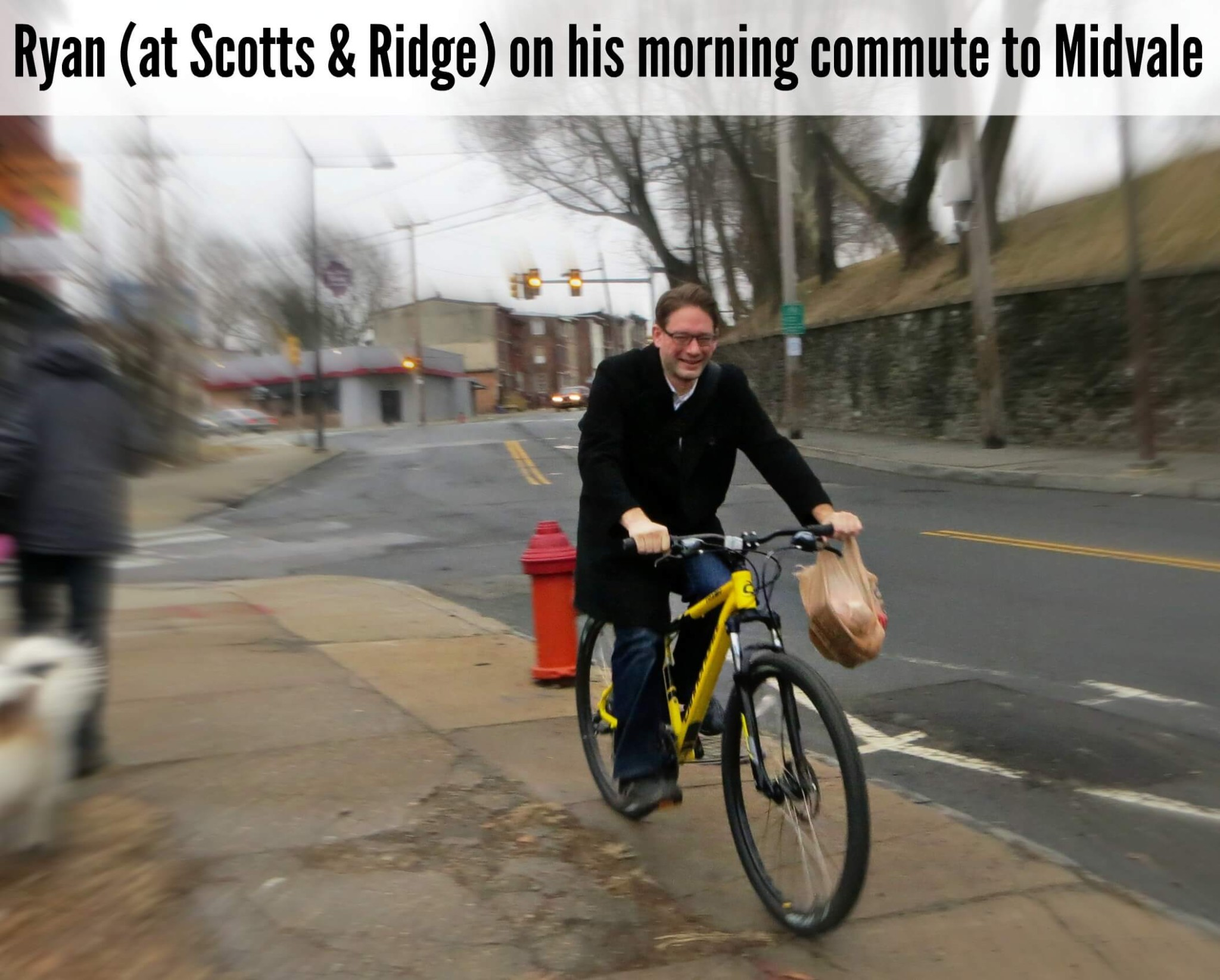 EastFallsLocal Ryan bikes to work