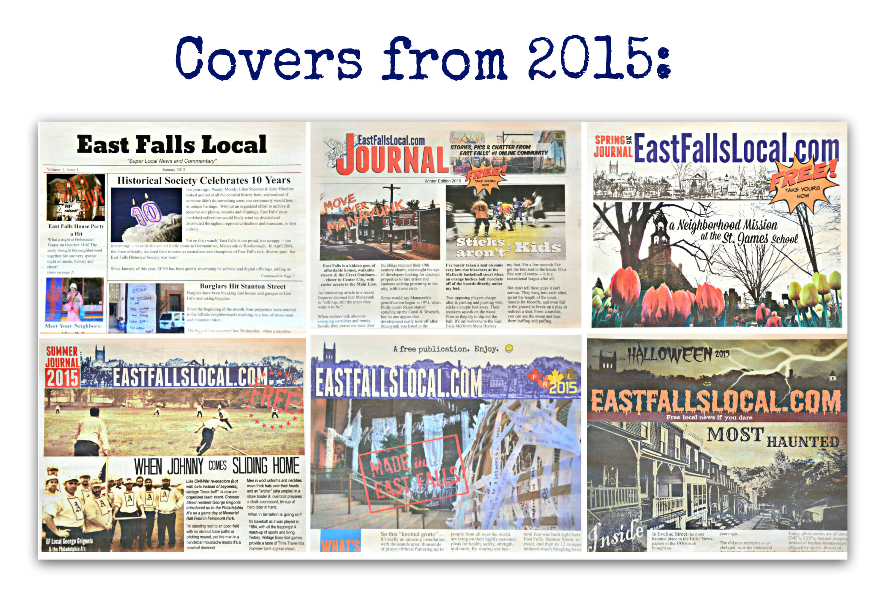 EastFallsLocal collage covers from 2015