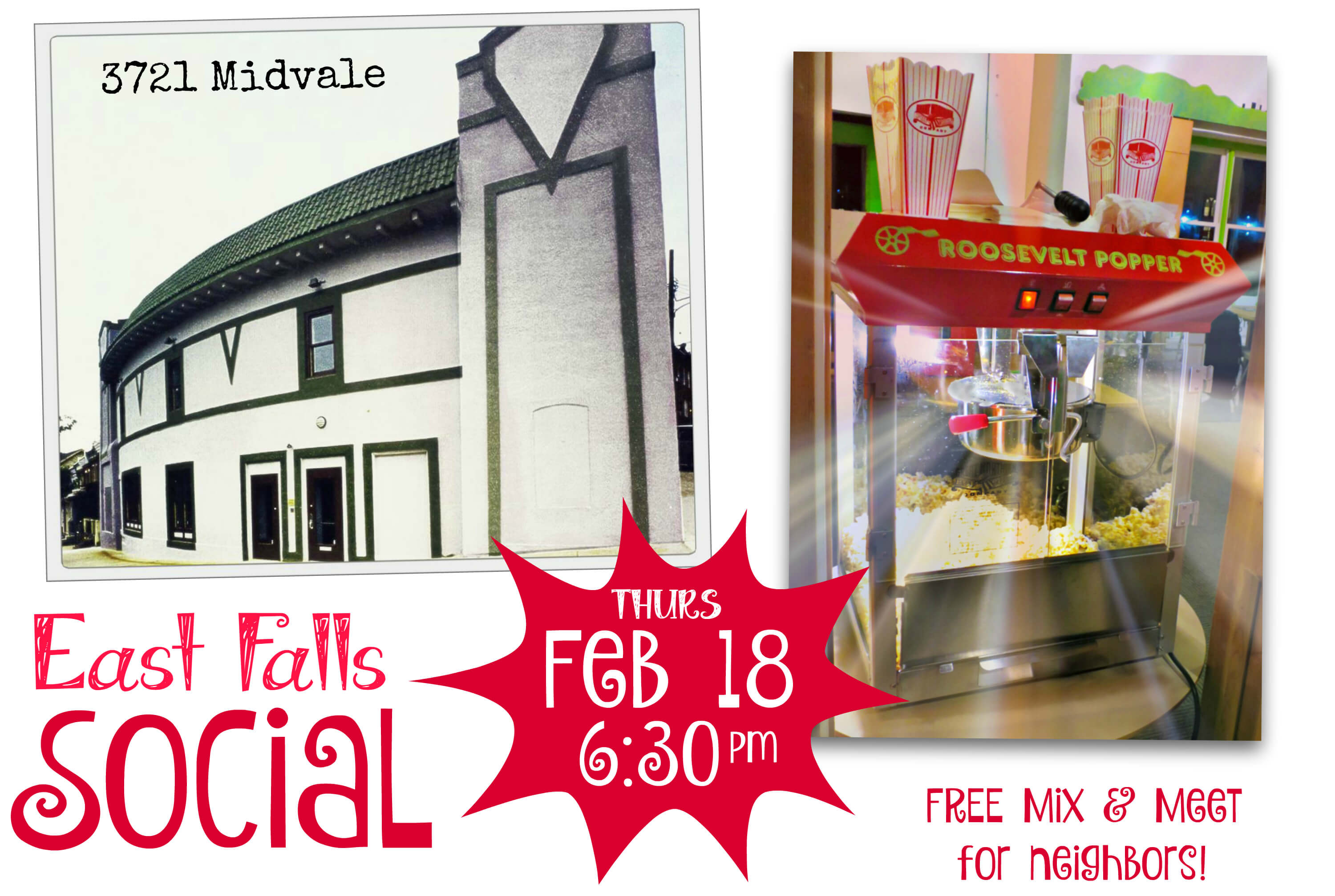 Eastfallslocal collage popcorn next meeting FREE MIX AND MEET