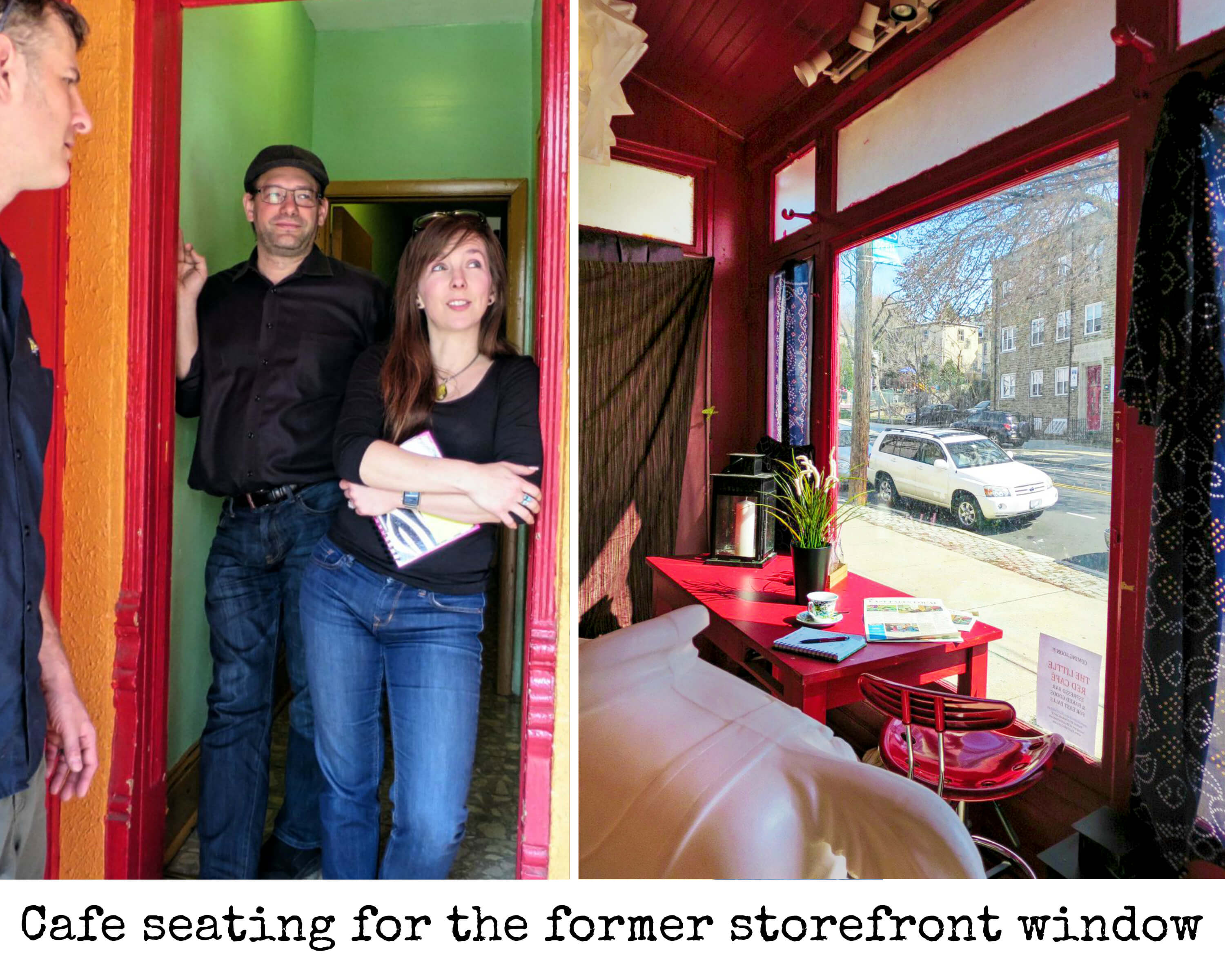 EastFallsLocal cafe seating for storefront window collage text